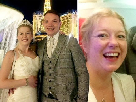 Couple meet for first time at Gatwick Airport before flying to Las Vegas in wedding gear to get married straight away