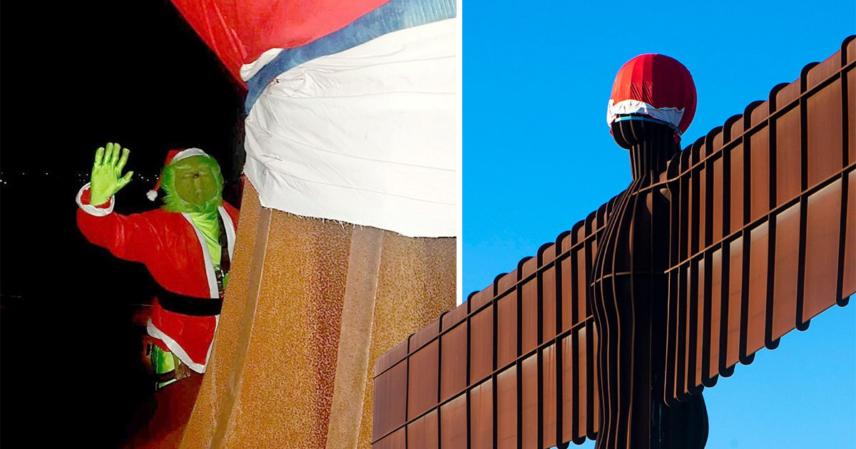 Grinch removes Santa hat from Angel of the North