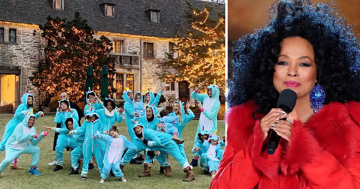 Diana Ross fans shook as they spot 'creeper' in background of festive unicorn family portrait