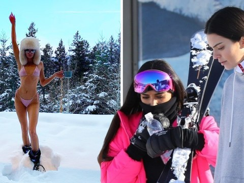 Kendall Jenner braves the chill as she sleighs in bikini while on skiing trip with Kim