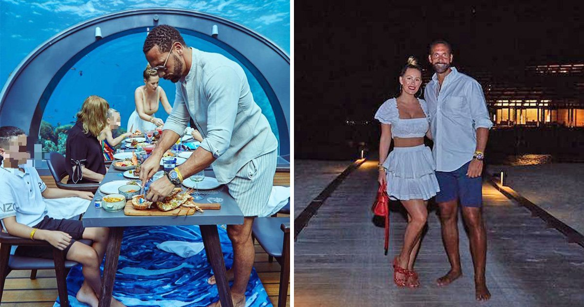 Rio Ferdi and Kate Wright quite literally have lunch under the sea on Maldives holiday