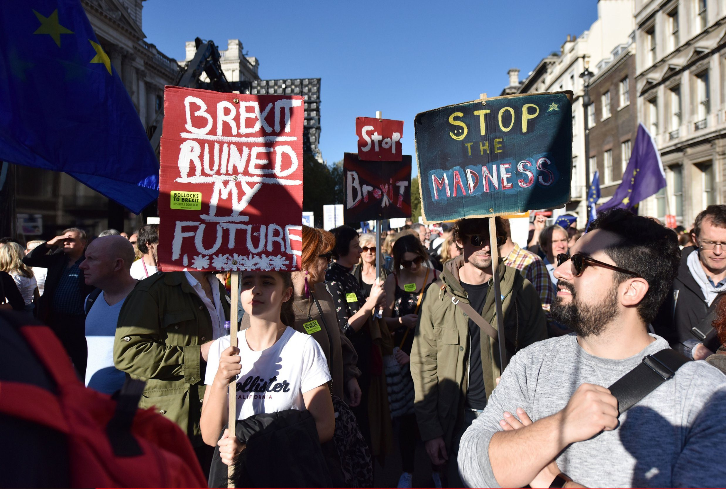 LONDON, ENGLAND - OCTOBER 20: People hold placards and march to demand a people's vote against Brexit on October 20, 2018 in London, England. More than one hundred thousand people march from Park Lane to Parliament Square in what is said to be the largest public protest against Brexit so far. The march is to demand a People's Vote on the final Brexit deal amid growing support from MPs from all the main political parties for a final say referendum. (Photo by John Keeble/Getty Images)