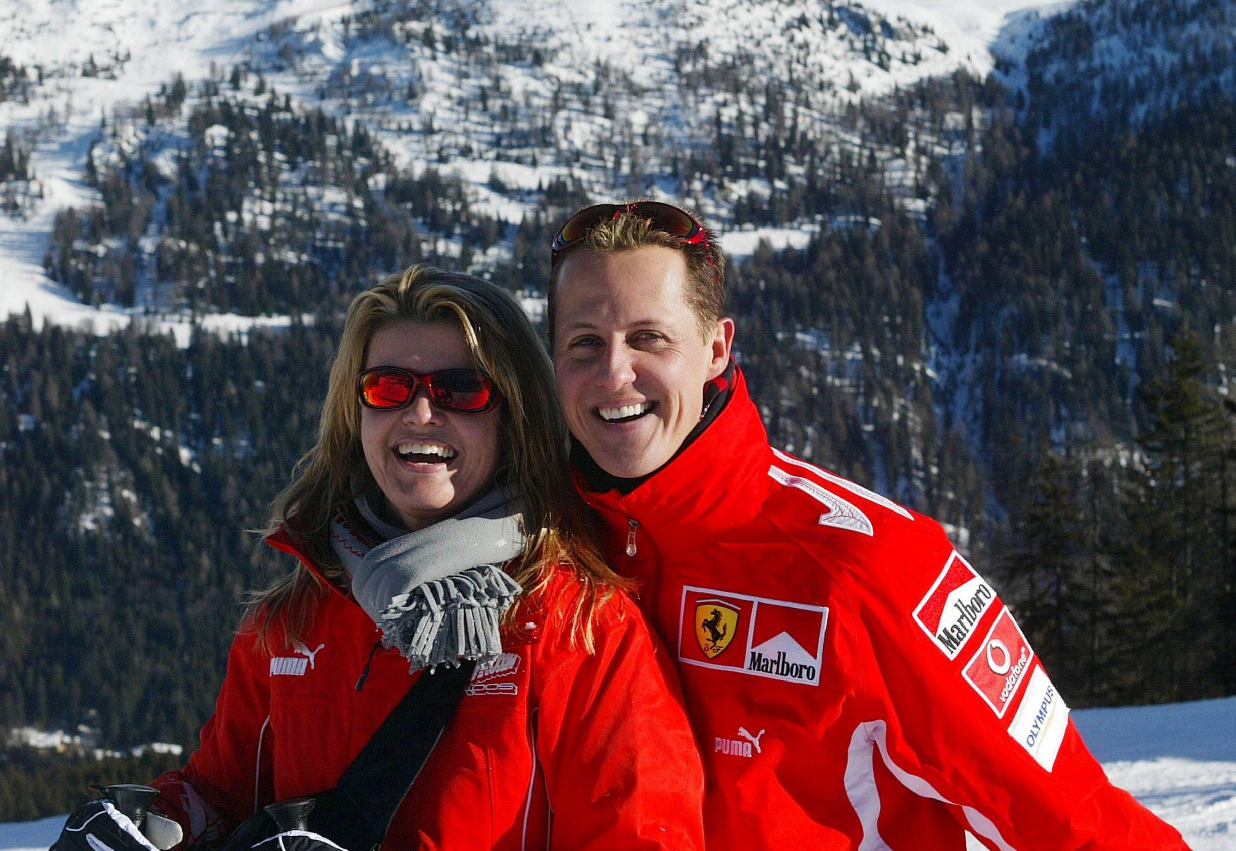 Mandatory Credit: Photo by Cesare Galimberti/REX/Shutterstock (508808c) Michael Schumacher and wife Corinna FERRARI FORMULA 1 PRESS CONFERENCE, MADONNA DI CAMPIGLIO, ITALY - 11 JAN 2005