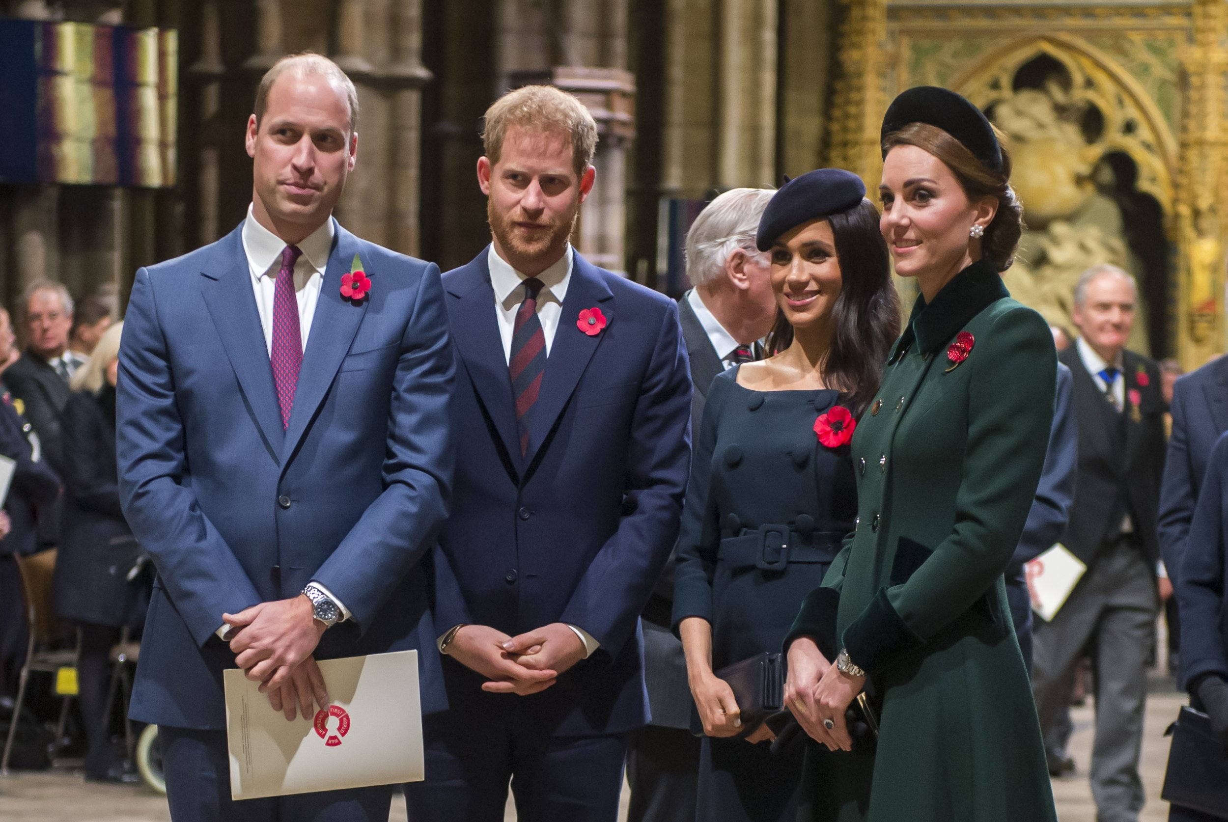 LONDON, ENGLAND - NOVEMBER 11: Prince William, Duke of Cambridge and Catherine, Duchess of Cambridge, Prince Harry, Duke of Sussex and Meghan, Duchess of Sussex attend a service marking the centenary of WW1 armistice at Westminster Abbey on November 11, 2018 in London, England. The armistice ending the First World War between the Allies and Germany was signed at Compi??gne, France on eleventh hour of the eleventh day of the eleventh month - 11am on the 11th November 1918. This day is commemorated as Remembrance Day with special attention being paid for this year?s centenary. (Photo by Paul Grover- WPA Pool/Getty Images)