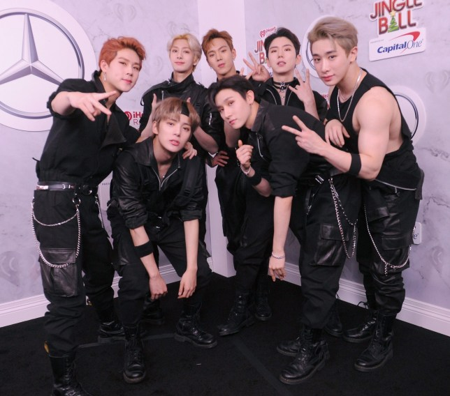 NEW YORK, NY - DECEMBER 07: (L-R) Jooheon, Minhyuk, Hyungwon, Shownu, I.M, Kihyun, and Wonho of Monsta X attend Z100's Jingle Ball 2018 at Madison Square Garden on December 7, 2018 in New York City. (Photo by Brad Barket/Getty Images for iHeartMedia)