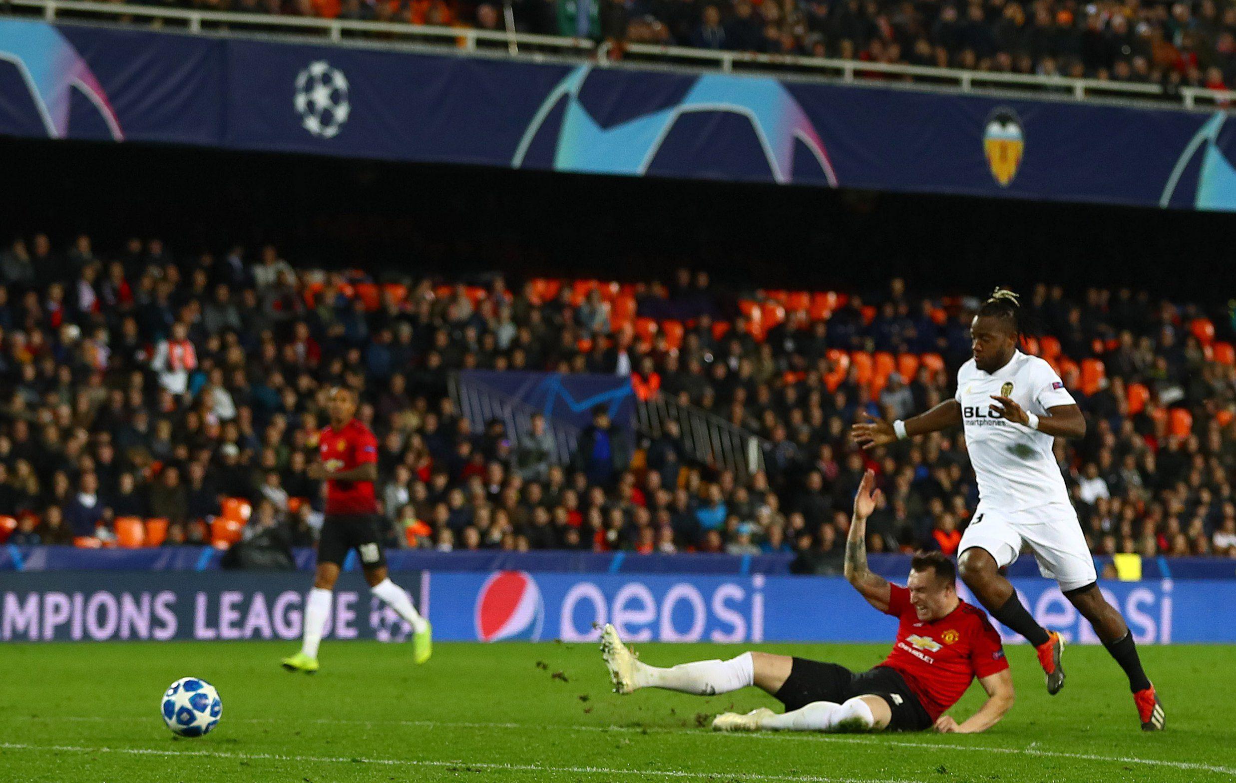 Mandatory Credit: Photo by Kieran McManus/BPI/REX (10031595af) Phil Jones of Manchester United scores an own goal to make it 2-0 Valencia v Manchester United, UEFA Champions League Group H, Football, Mestalla Stadium, Valencia, Spain - 12 Dec 2018