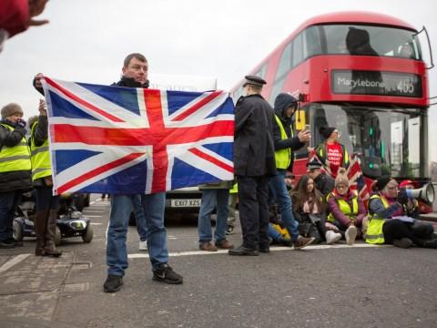 Pro-Brexit yellow vest protesters block Westminster Bridge