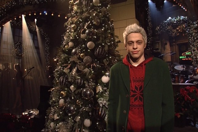 Scene from Saturday Night Live airing Dec. 15, 2018: Pete Davidson introduces Miley Cyrus.