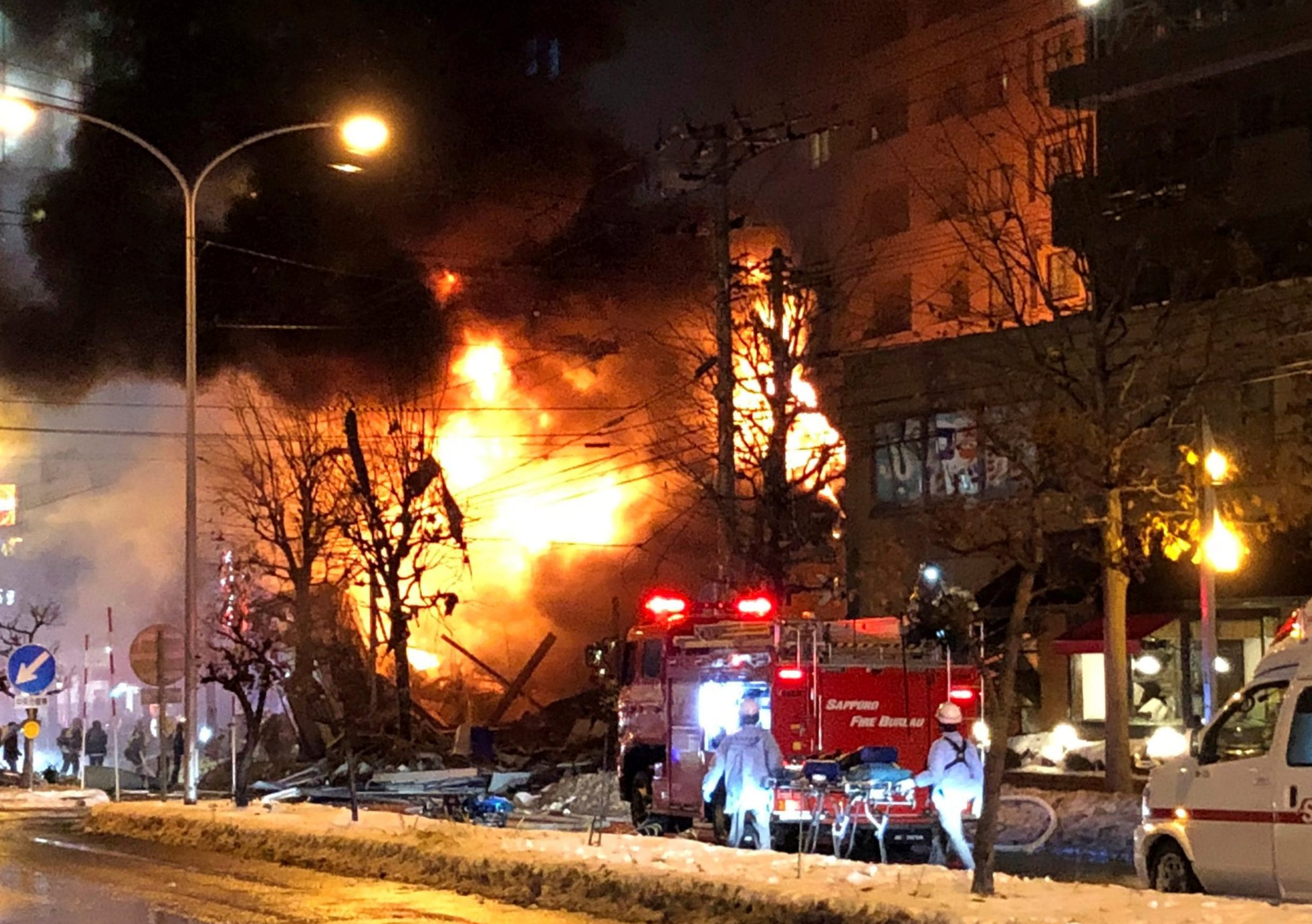 A view of a site of an explosion at a bar in Sapporo, Japan, December 16, 2018 in this still image taken from a video obtained from social media. TWITTER/ @KEIBAPANDRA/via REUTERS THIS IMAGE HAS BEEN SUPPLIED BY A THIRD PARTY. MANDATORY CREDIT. NO RESALES. NO ARCHIVES.