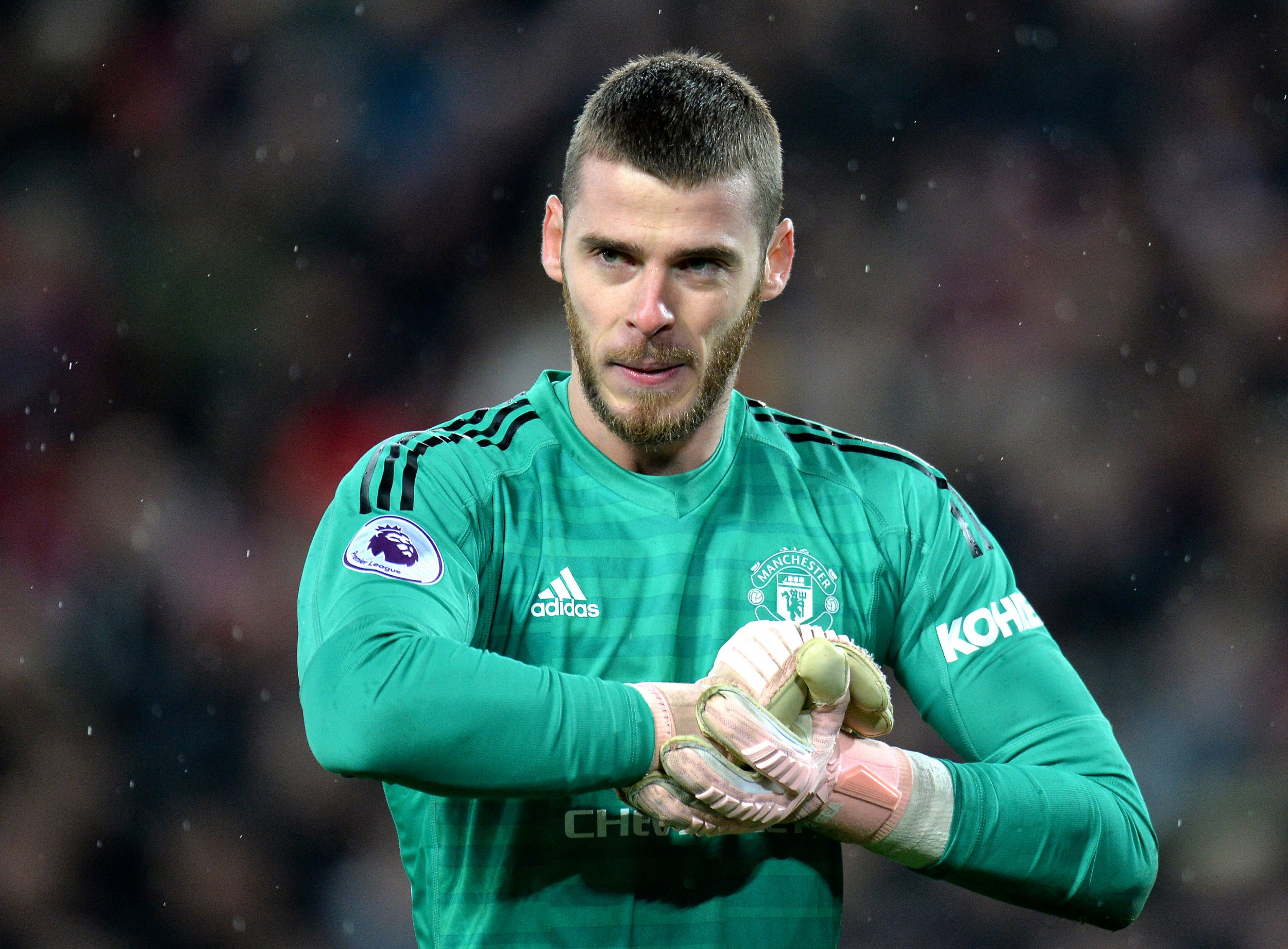 epa07235918 Manchester United goalkeeper David De Gea reacts during the English Premier League soccer match between Liverpool FC and Manchester United FC at Anfield in Liverpool, Britain, 16 December 2018. EPA/PETER POWELL EDITORIAL USE ONLY. No use with unauthorized audio, video, data, fixture lists, club/league logos or 'live' services. Online in-match use limited to 120 images, no video emulation. No use in betting, games or single club/league/player publications.