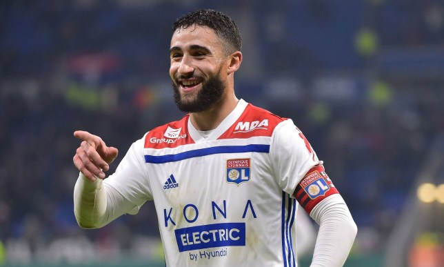 Lyon's French forward Nabil Fekir celebrates after scoring a goal with teammates during the French L1 football match between Lyon (OL) and Monaco (ASM) on December 16, 2018, at the Groupama Stadium in Decines-Charpieu near Lyon, central-eastern France. (Photo by ROMAIN LAFABREGUE / AFP)ROMAIN LAFABREGUE/AFP/Getty Images