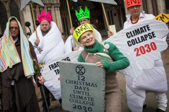 Mandatory Credit: Photo by Vianney Le Caer/REX (10036452q) Vivienne Westwood Vivienne Westwood anti Fracking protest, London, UK - 18 Dec 2018 British fashion designer Vivienne Westwood and son Joseph Corre protest against Fracking outside High Court in London, Britain, 18 December 2018. Campaigners are set to challenge new planning guidelines for fracking in the High Court on 18 December.