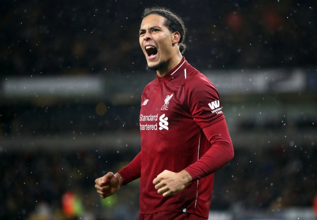 "Liverpool's Virgil van Dijk celebrates scoring his side's second goal of the game during the Premier League match at Molineux, Wolverhampton. PRESS ASSOCIATION Photo. Picture date: Friday December 21, 2018. See PA story SOCCER Wolves. Photo credit should read: Nick Potts/PA Wire. RESTRICTIONS: EDITORIAL USE ONLY No use with unauthorised audio, video, data, fixture lists, club/league logos or ""live"" services. Online in-match use limited to 120 images, no video emulation. No use in betting, games or single club/league/player publications."
