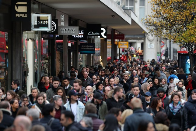 Black Friday shoppers in Oxford Street, London