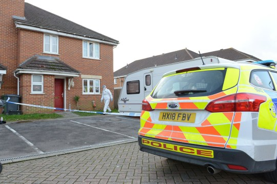 Pictured: Police and forensics outside the property in Eastleigh. Two teenagers have been arrested on suspicion of attempted murder after a 23-year-old man sustained life-threatening head injuries. Police confirmed today a 17-year-old girl and a 17-year-old boy are being quizzed by detectives while a 48-year-old man has been arrested on suspicion of grievious bodily harm. Homeowners in a residential road described hearing 'screams' and seeing 'blood everywhere' at a property in Eastleigh, Hants, before an ambulance and police arrived late last night. Photos from the scene show a trail of blood leading from the front door to the driveway where a large pool of blood can be seen. SEE OUR COPY FOR MORE DETAILS. ? Solent News & Photo Agency UK +44 (0) 2380 458800