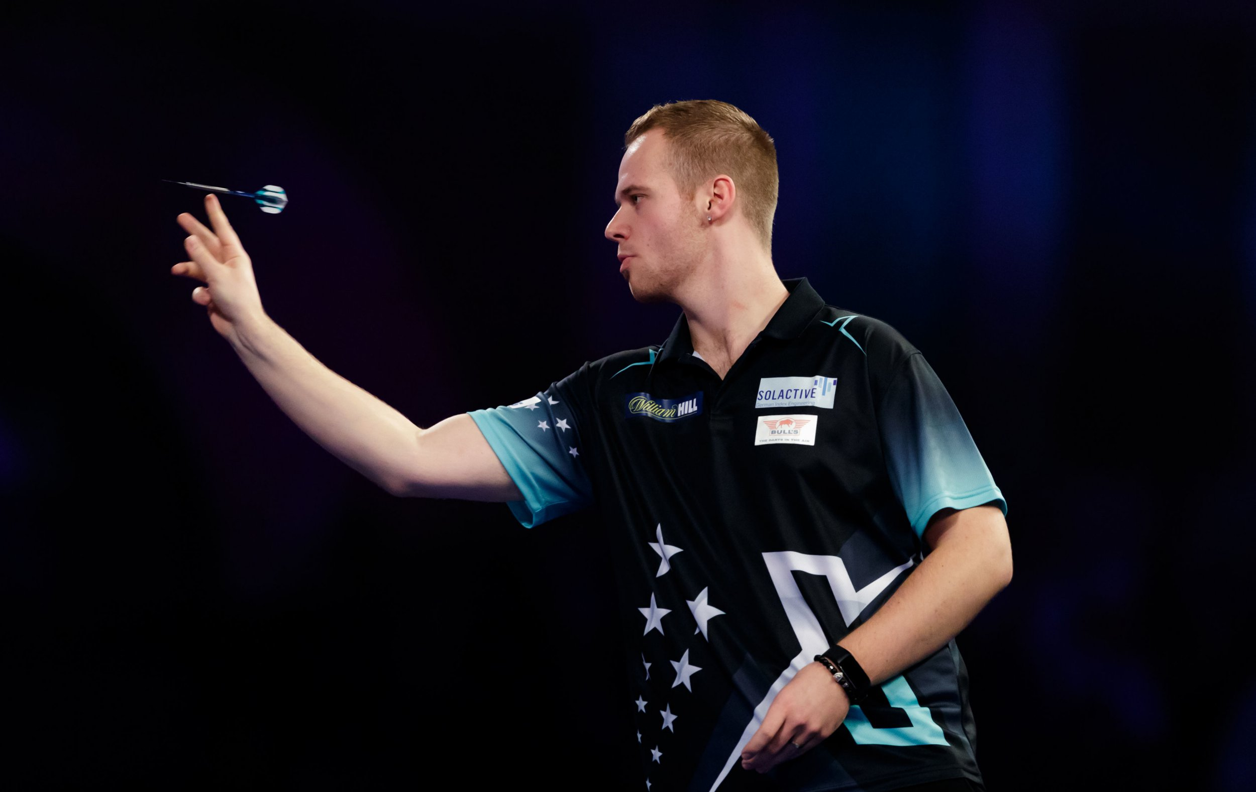 Max Hopp during his match against Michael van Gerwen during day ten of the William Hill World Darts Championships at Alexandra Palace, London. PRESS ASSOCIATION Photo. Picture date: Saturday December 22, 2018. Photo credit should read: John Walton/PA Wire