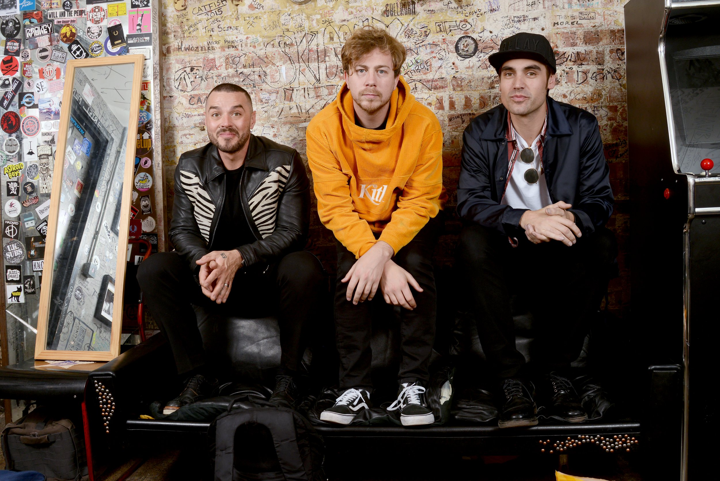 LONDON, ENGLAND - OCTOBER 29: (L-R) Matt Willis, James Bourne and Charlie Simpson of Busted backstage forward of personification their smallest gig ever during The 100 Club on Oct 29, 2018 in London, England. (Photo by Dave J Hogan/Dave J Hogan/Getty Images for Warner Music)