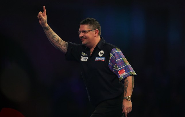 Gary Anderson celebrates winning his match during day twelve of the William Hill World Darts Championships at Alexandra Palace, London. PRESS ASSOCIATION Photo. Picture date: Thursday December 27, 2018. Photo credit should read: Steven Paston/PA Wire