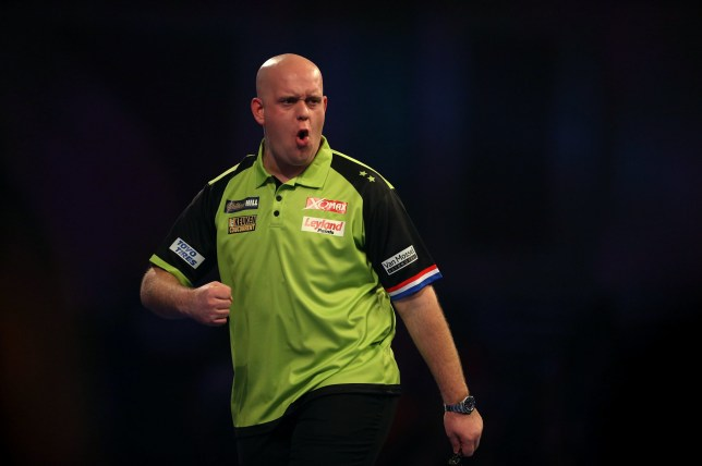 Michael van Gerwen reacting during day twelve of the William Hill World Darts Championships at Alexandra Palace, London. PRESS ASSOCIATION Photo. Picture date: Thursday December 27, 2018. Photo credit should read: Steven Paston/PA Wire