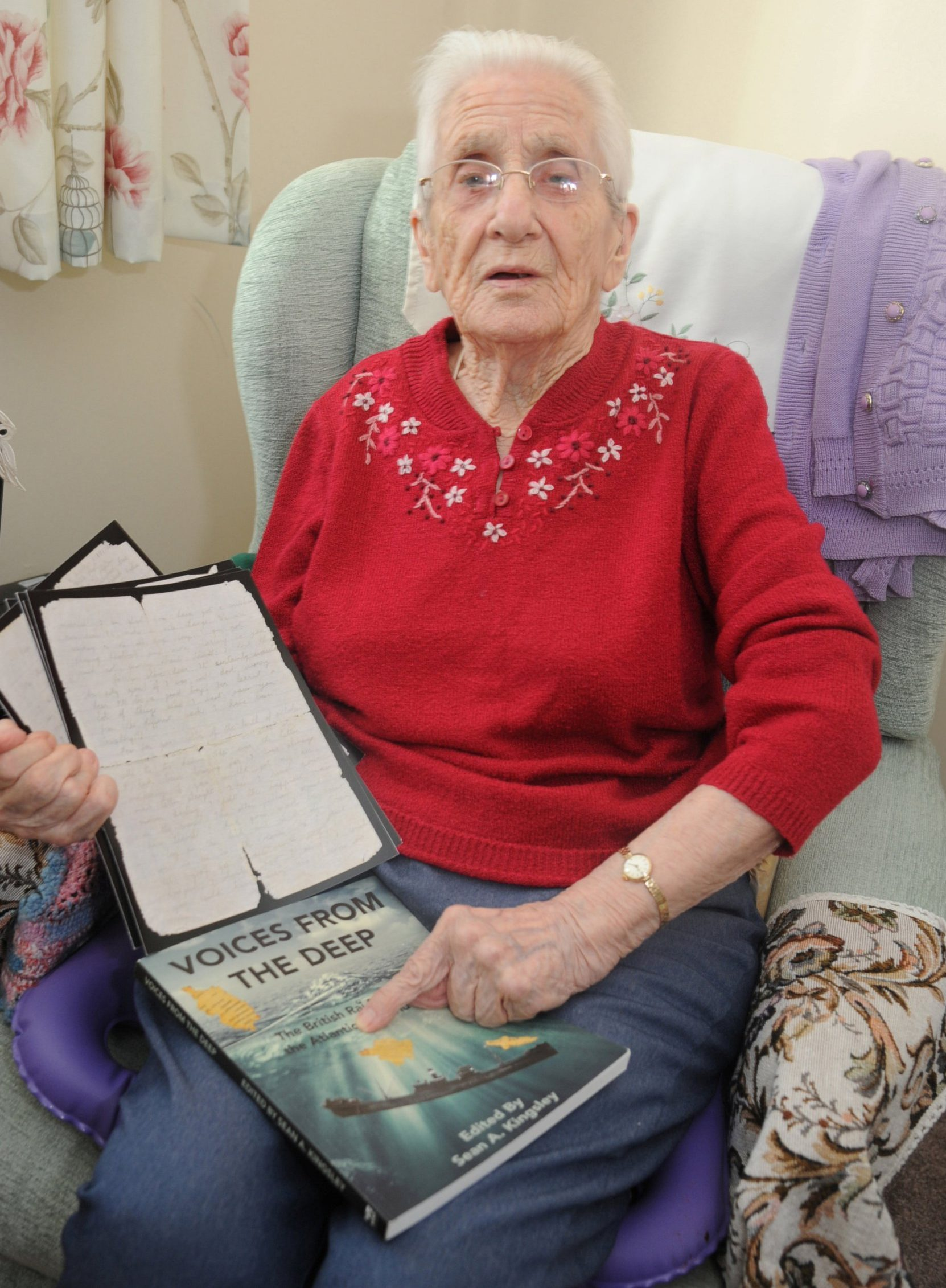 Finally delivered Phyllis Ponting with her love letters that were lost at sea after the boat was torpedoed in World War two. See SWNS story SWBRletter - Grandmother aged 99 receives a love letter from her wartime fiance he wrote .. 70-years-ago. A great grandmother aged 99 has received a love letter written by her Second World War fiance 77 years after he wrote it. Phyllis Ponting, from Wilts., has finally read a hand-written love letter from her soldier fiance which was lost at sea for almost 80 years. The 99-year-old gave up hope of ever hearing from her beloved Bill Walker, serving in India, after he never answered her letter accepting his proposal of marriage. But incredibly - 77 years after he wrote his reply - it has been found at the bottom of the sea. The letter has laid deep underwater for almost 80 years when the cargo ship transporting it to Britain was sunk off the coast of Galway by German U-boats in 1941. No one knows if Mr Walker survived the India conflict, and heartbroken Phyllis, whose maiden name was Aldridge, went on to find happiness with Jim Holloway. The pair married, and the couple had four children but for years, Phyllis forever wondered what happened to long-lost Bill.
