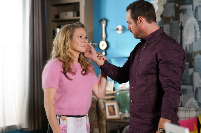 Linda Carter (Kellie Bright) and Mick Carter (Danny Dyer) in EastEnders
