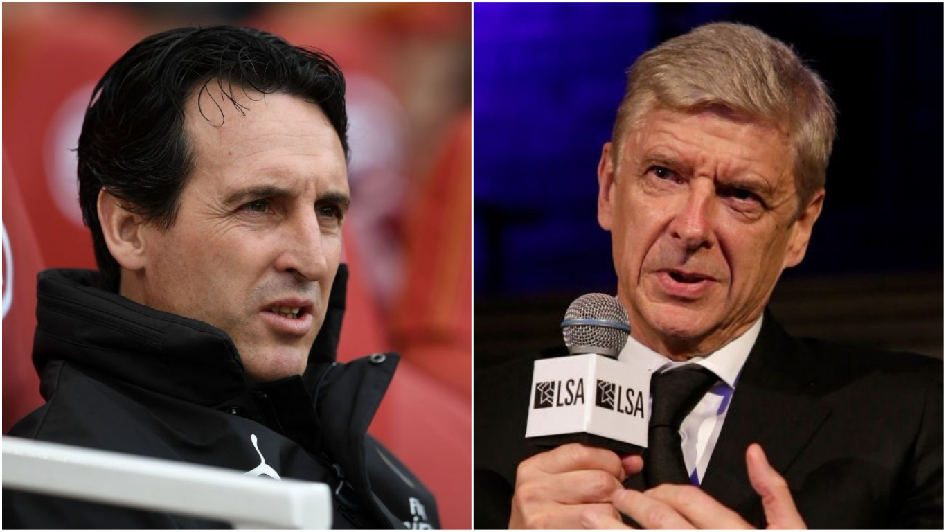 Unai Emery and former Arsenal boss Arsene Wenger