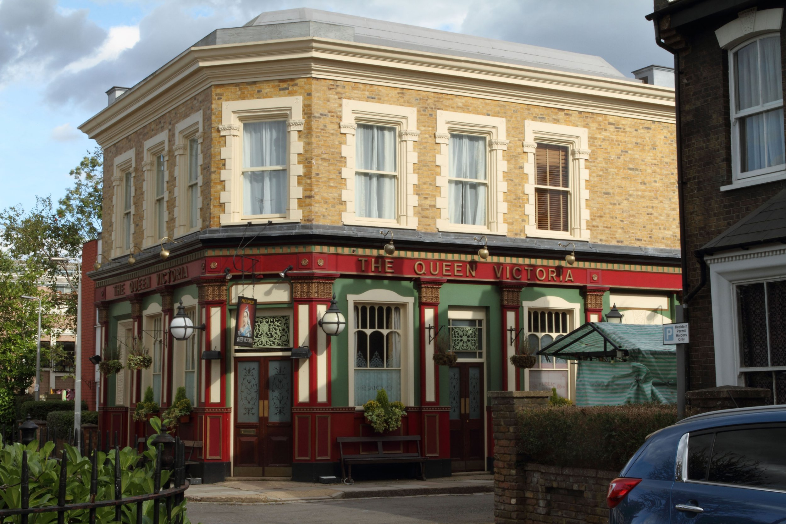 A general view of the Queen Victoria Pub 'The Queen Vic'. Programme Name: EastEnders - TX: n/a - Episode: Generics (No. n/a) - Picture Shows: Albert Square - (C) BBC - Photographer: Jack Barnes