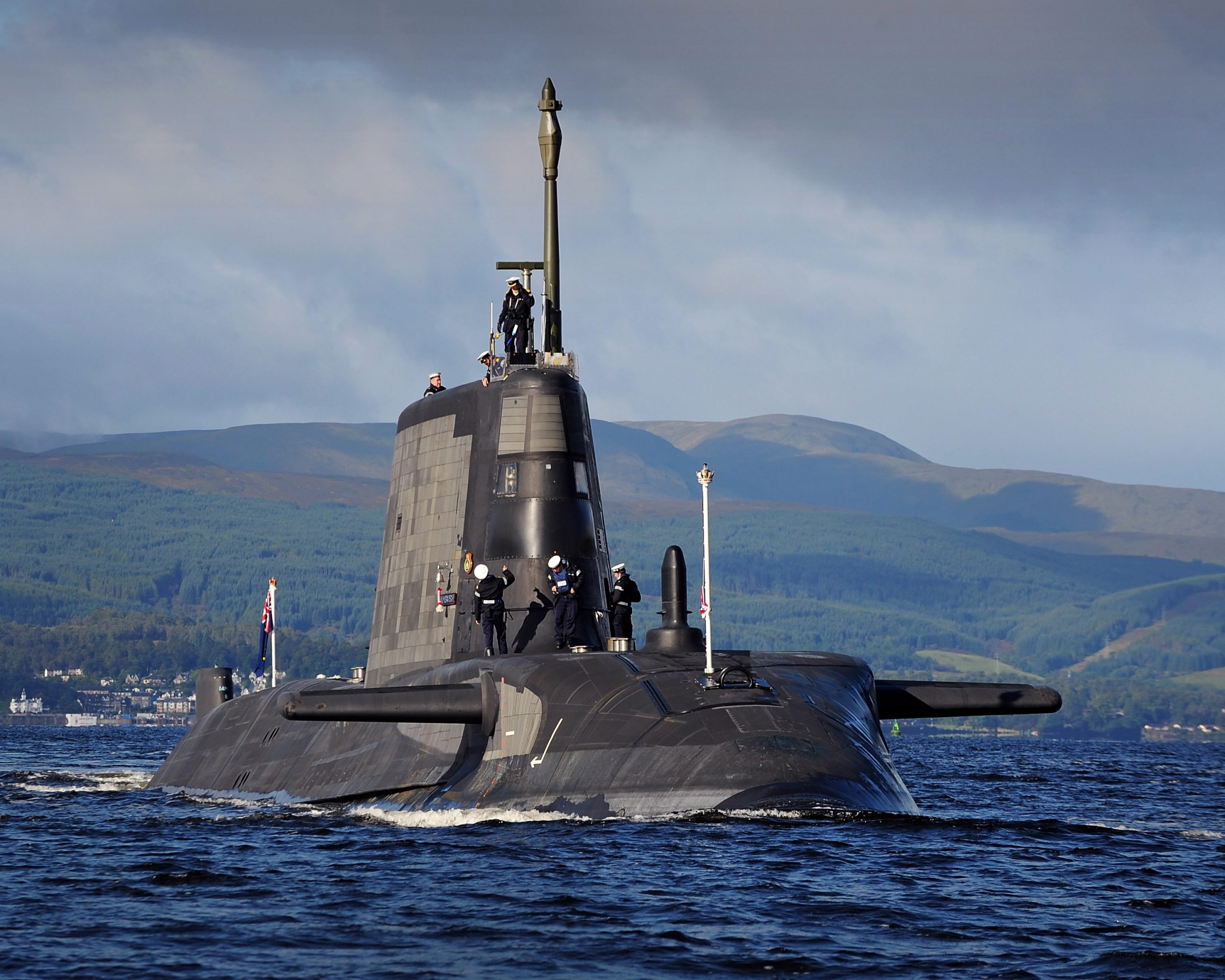 The British Royal Navy's Astute Class attack submarine, HMS Ambush, the second of the Royal Navy?s new Astute Class attack submarines, sailing into Her Majesty?s Naval Base Clyde, Faslane, Scotland, to begin sea trials on 19 September 2012. The 7,400 tonne submarine sailed from the shipyard in Barrow-in-Furness in Cumbria, where she was built, to HMNB Clyde in Scotland. The seven Astute Class boats planned for the Royal Navy are the most advanced and powerful attack submarines Britain has ever sent to sea. EPA/LA(Phot) STU HILL / BRITISH MINISTRY OF DEFENCE / HANDOUT MANDATORY CREDIT: CROWN COPYRIGHT