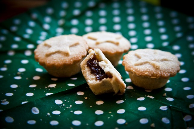 Mince pies on a spotty tablecloth