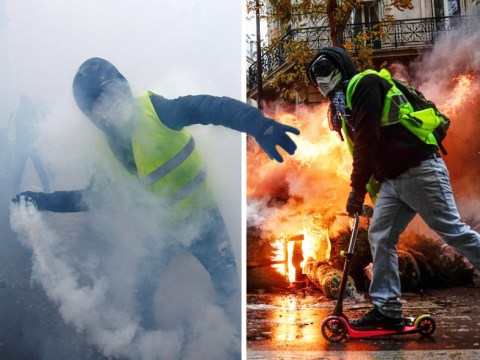 Nearly 100 protesters and police injured as Paris erupts into war zone