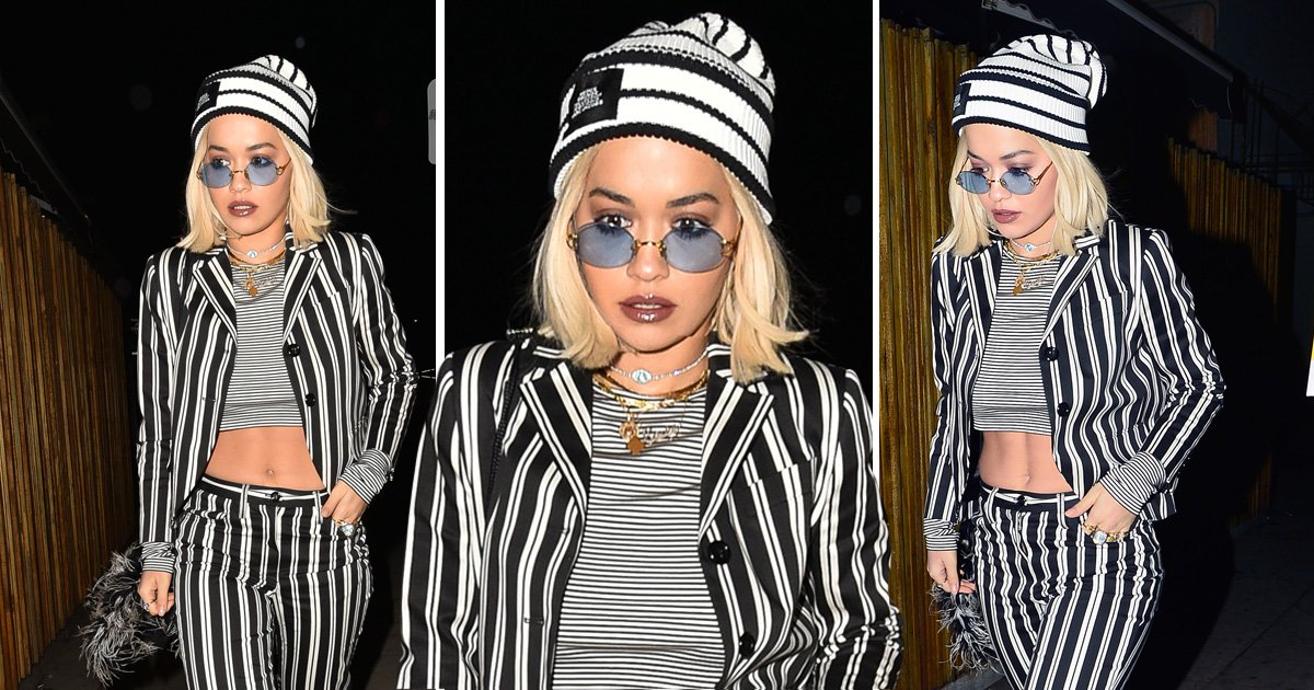Rita Ora channels Beetlejuice vibes as she heads to Vas J Morgan's birthday dinner amid Andrew Garfield dating rumours