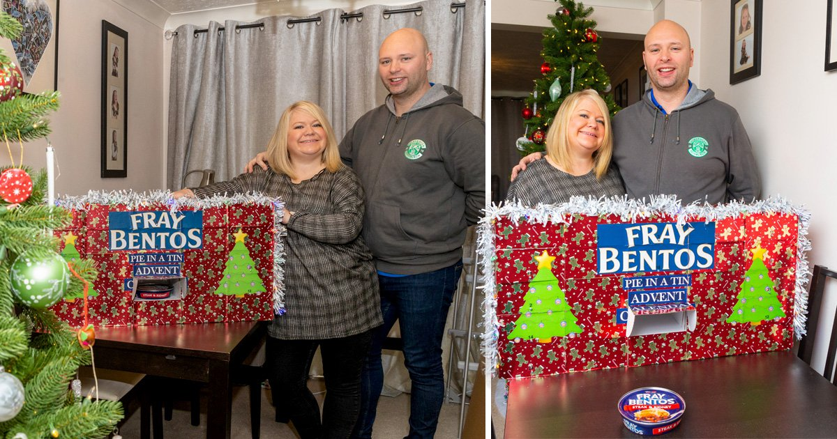 Man creates advent calendar with a Fray Bentos pie behind each door for his girlfriend