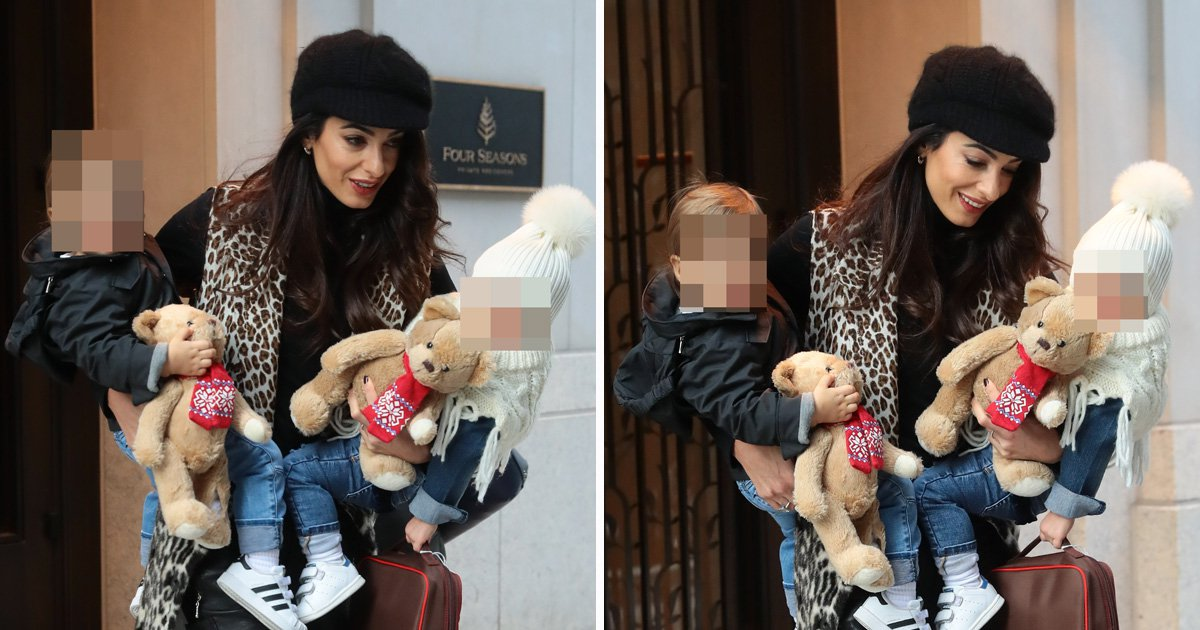 Amal Clooney slays as multitasking mum with twins Alexander and Ella