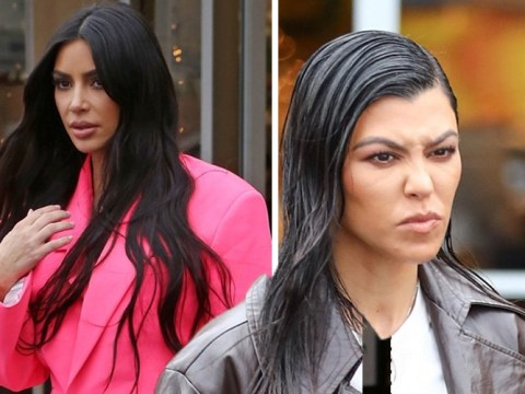 Kim Kardashian defies the rain in hot pink ensemble as she shops for Christmas decorations with sister Kourtney