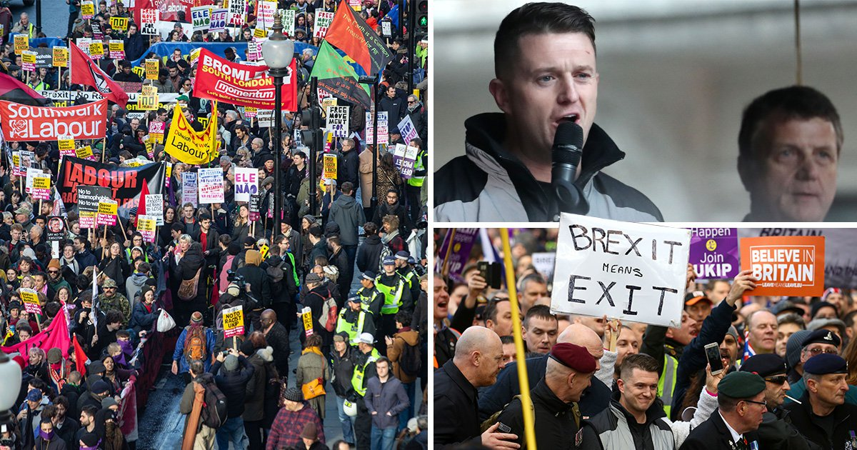 Tommy Robinson supporters 'vastly outnumbered' by people marching against him