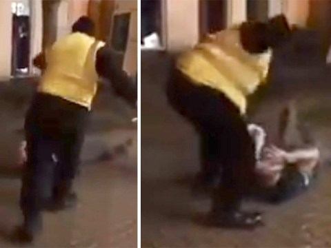 Bouncer kicks and punches man's head as he lies on ground