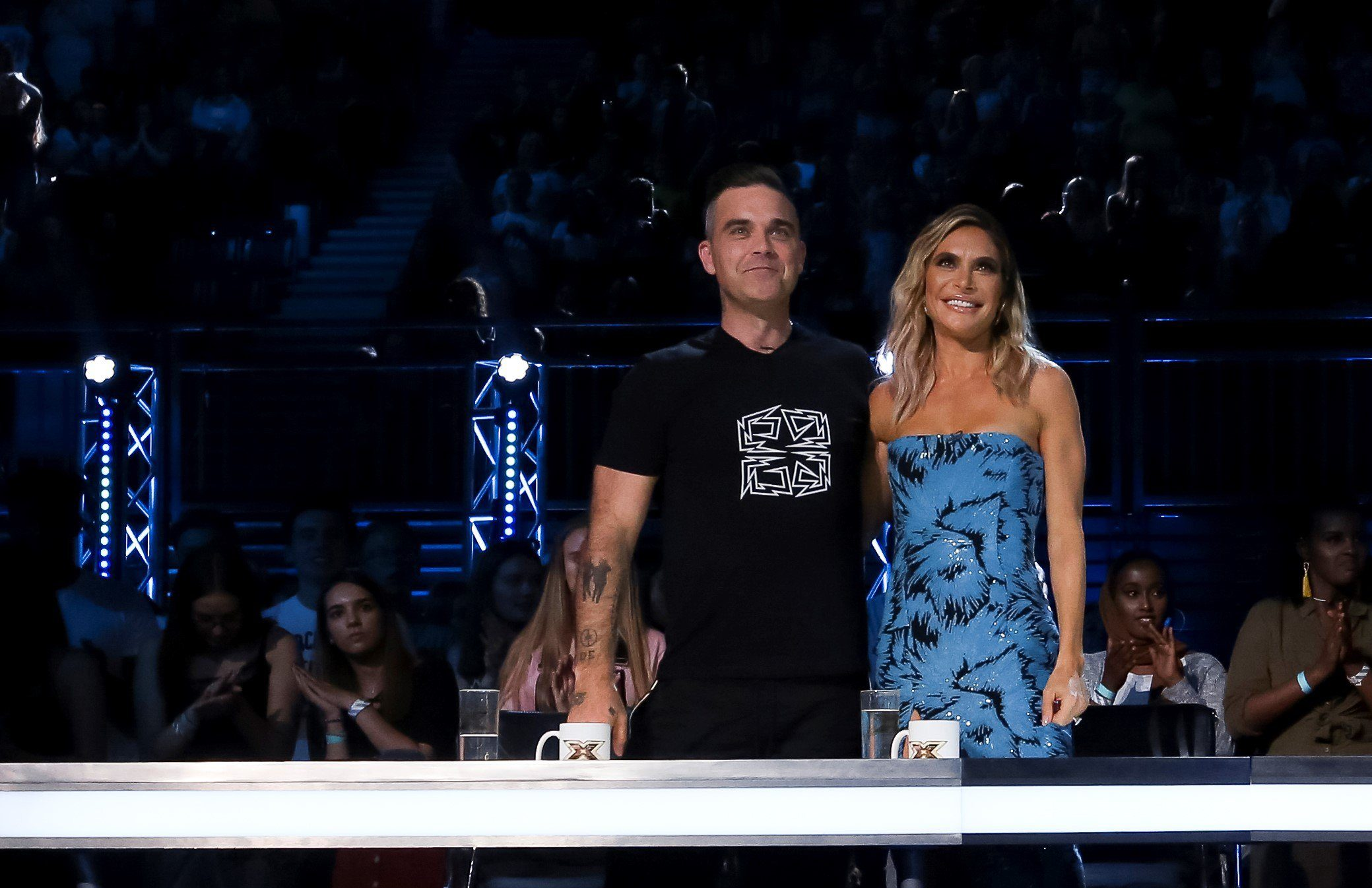 STRICT EMBARGO - NO USE BEFORE 22:05 SATURDAY 29TH SEPTEMBER 2018. EDITORIAL USE ONLY - NO MERCHANDISING Mandatory Credit: Photo by Dymond/Thames/Syco/REX (9903309ac) Robbie Williams and Ayda Williams during the performance of Danny Tetley 'The X Factor' TV show, Series 15, Episode 9, UK - 29 Sep 2018
