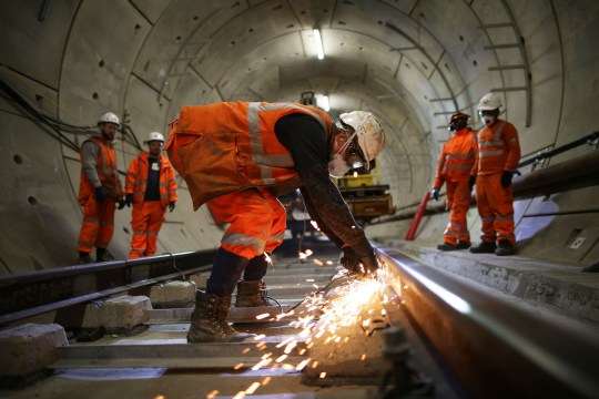 LONDON, ENGLAND - NOVEMBER 16: Construction workers continue to build the Crossrail underground line in the Stepney tunnel on November 16, 2016 in London, England. The Elizabeth Line, named after the current Queen, is part of the Crossrail project and will run through central London from Reading and Heathrow in the west to Shenfield and Abbey Wood in the East. Construction began on the ??14.8billion Crossrail infrastructure programme in 2009 and is expected to be delivered on time and on budget, opening in December 2018. (Photo by Dan Kitwood/Getty Images)
