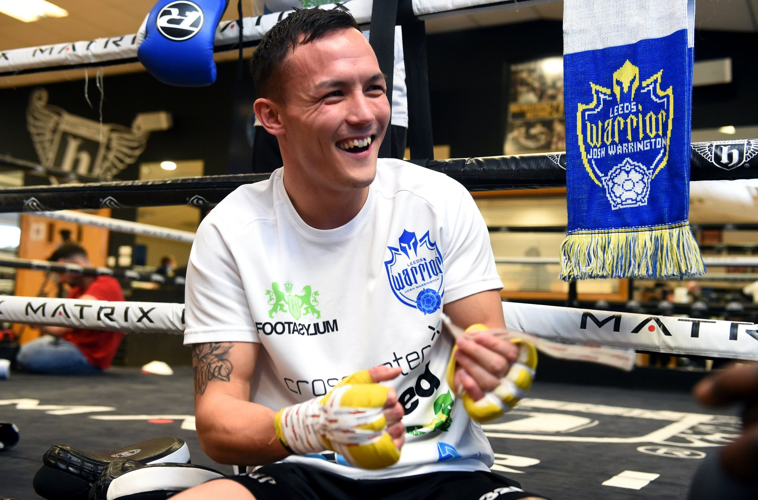HYDE, ENGLAND - NOVEMBER 12: Josh Warrington looks on during a media workout at Hatton Health & Fitness at on November 12, 2018 in Hyde, England. (Photo by Nathan Stirk/Getty Images)