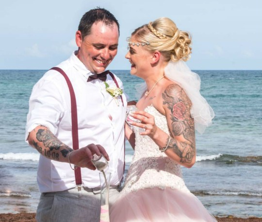 """A BRIDE dubbed the """"fajita cheater"""" after she took off with another man days after her ?30,000 Mexican wedding has returned to the marital home. Andy Mitchell caused a sensation in June when he posted his wedding rings for sale, publicly accusing his new wife of cheating on her hen night. But it has now emerged that despite their bitter and very public split, Andy and Meaghan Mitchell are """"testing the waters"""" of married life at their home in Kelty, Fife. And Andy, 40, even has the phrase """"fajita cheater"""" tattooed on the back of his neck as a permanent reminder of their early marital troubles. Andy married Meaghan, 21, also from Kelty, in a lavish wedding ceremony in Cancun on June 3. But he posted their wedding bands for sale for ?400 just six days later, claiming she had been unfaithful on her hen night."""