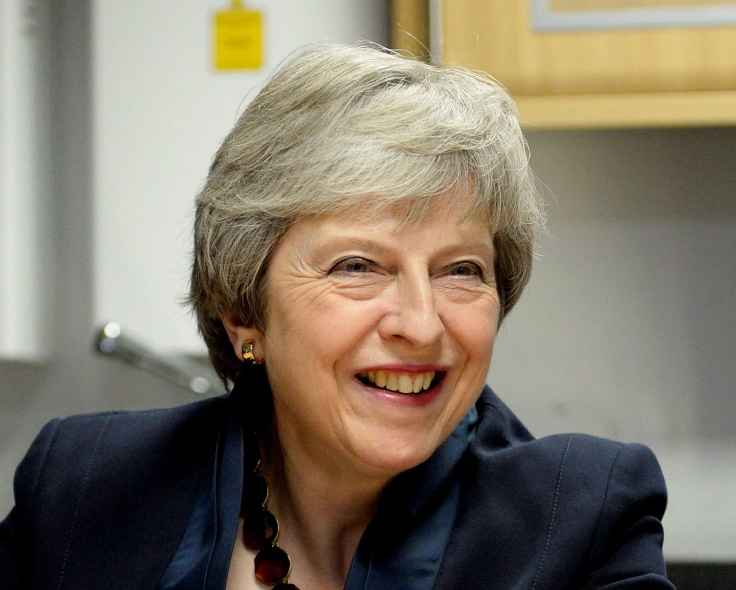 Prime Minister Theresa May visiting Bridge of Weir, Fine Scottish Leather In Bridge of Weir outside Glasgow, Scotland. November 28, 2018. The prime minister seeks to build support for her Brexit deal ahead of next month's vote in the Commons. Theresa May will insist that the deal will protect jobs and provide new opportunities for exporters as she meets factory workers in Glasgow. Her Brexit agreement won the support of EU leaders at the weekend. But it has faced strong criticism from opposition parties - as well as from many of her own MPs.