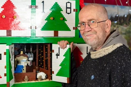 Couple build 8ft advent calendar made with 450,000 Lego bricks