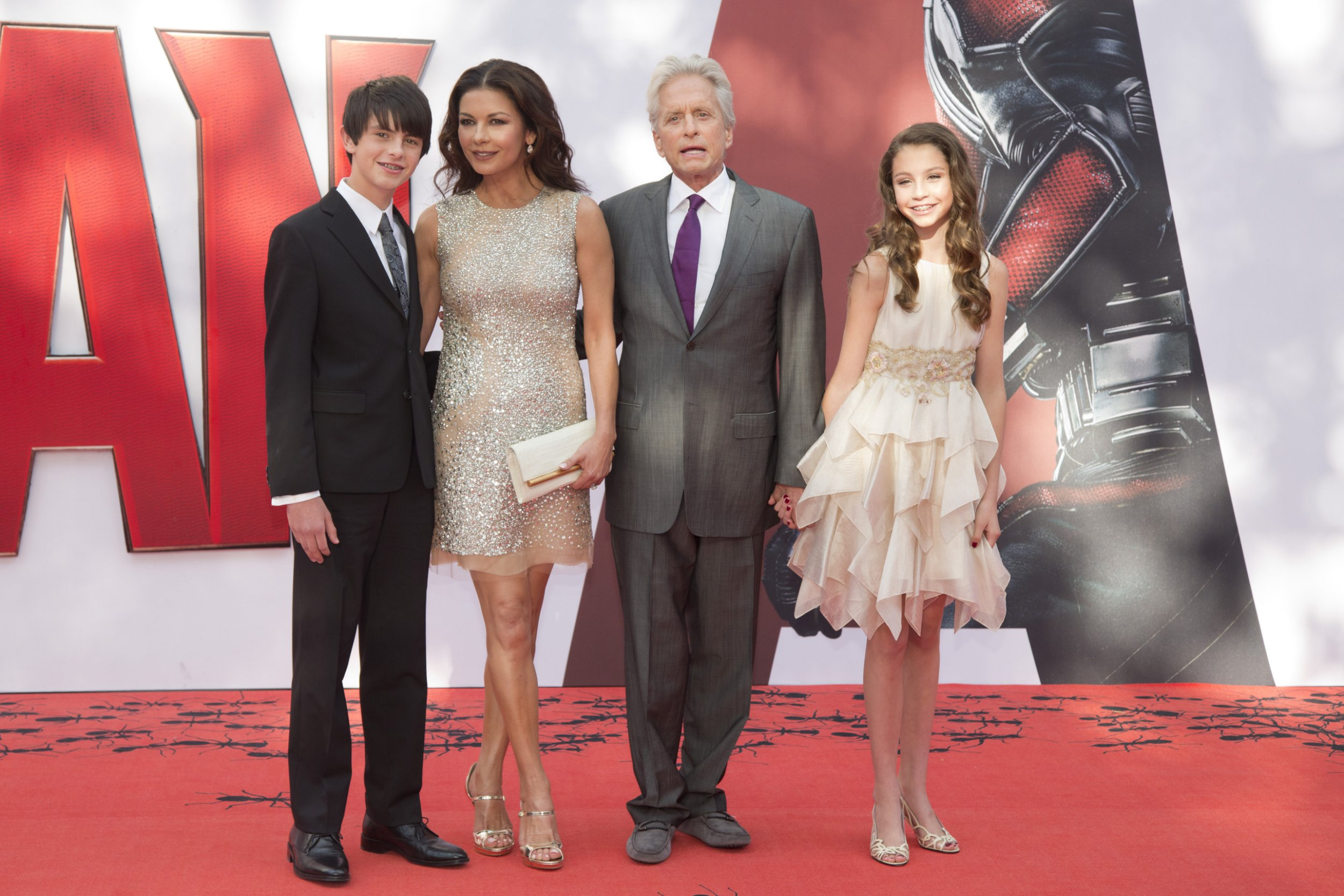 LONDON, ENGLAND - JULY 8: Catherine Zeta-Jones and Michael Douglas with their children Dylan and Carys as they attend the European Premiere of Marvel's 'Ant-Man' at the Odeon Leicester Square on July 8, 2015 in London, England.(Photo by Julian Parker/UK Press via Getty Images)