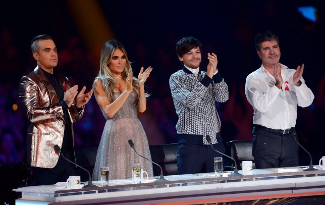 Editorial use only. No book publishing Mandatory Credit: Photo by Tuttle/Thames/Syco/REX (10010247j) Robbie Williams, Ayda Williams, Louis Tomlinson and Simon Cowell 'The X Factor' TV show, Final, Series 15, Episode 26, London, UK - 01 Dec 2018