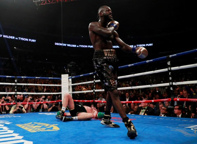 Boxing - Deontay Wilder v Tyson Fury - WBC World Heavyweight Title - Staples Centre, Los Angeles, United States - December 1, 2018 Deontay Wilder reacts after knocking down Tyson Fury Action Images via Reuters/Andrew Couldridge
