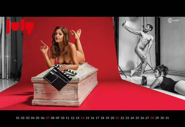 One of the racy pictures from the annual Lindner coffin calendar. See National News story NNcoffin; A cheeky undertaker celebrating ten years of their heart-stopping saucy calendar by showing naked models posing in COFFINS. The racy wall planner - inspired by the classic Pirelli Calendar - was created by coffin manufacturer Lindner to help boost sales, and, to celebrate its tenth year, shows naked men for the first time. The calendar, which is produced every year, shows stunning male and female models frolicking on coffins - while a naked photographer takes their picture. Raunchy February shows a masked couple embracing while a barely-clothed snapper lounges in an open coffin, with a strategically-placed box camera preserving some of her modesty.