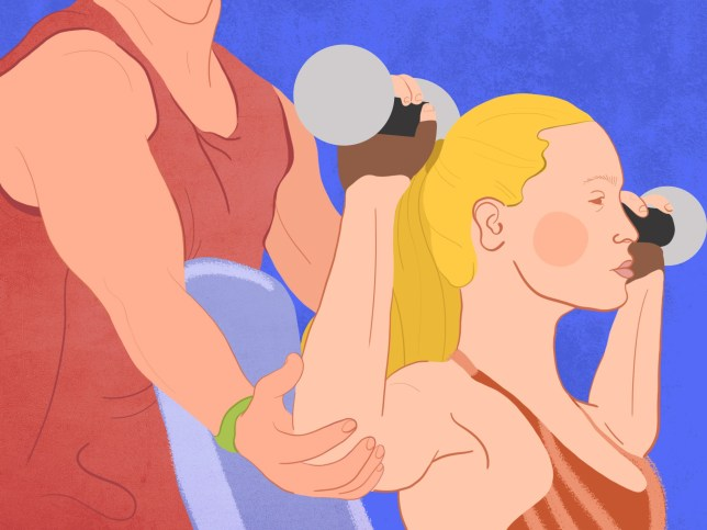 Metro Illustrations I want to break up with my personal trainer A woman exercising with a personal trainer (Picture: Monika Muffin for Metro.co.uk)