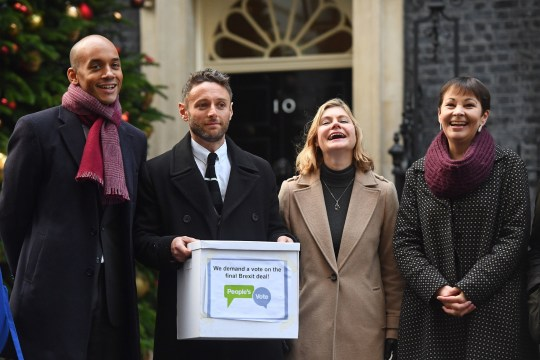 Caroline Lucas (right), Chuka Umunna (left) and Justin Greening (2nd right) handing in Final Say and People?s Vote petitions ? both of which call for the public to be given a chance to reject the final Brexit deal in favour of staying in the EU - to 10 Downing Street in London. PRESS ASSOCIATION Photo. Picture date: Monday December 3, 2018. See PA story POLITICS Brexit. Photo credit should read: Victoria Jones/PA Wire