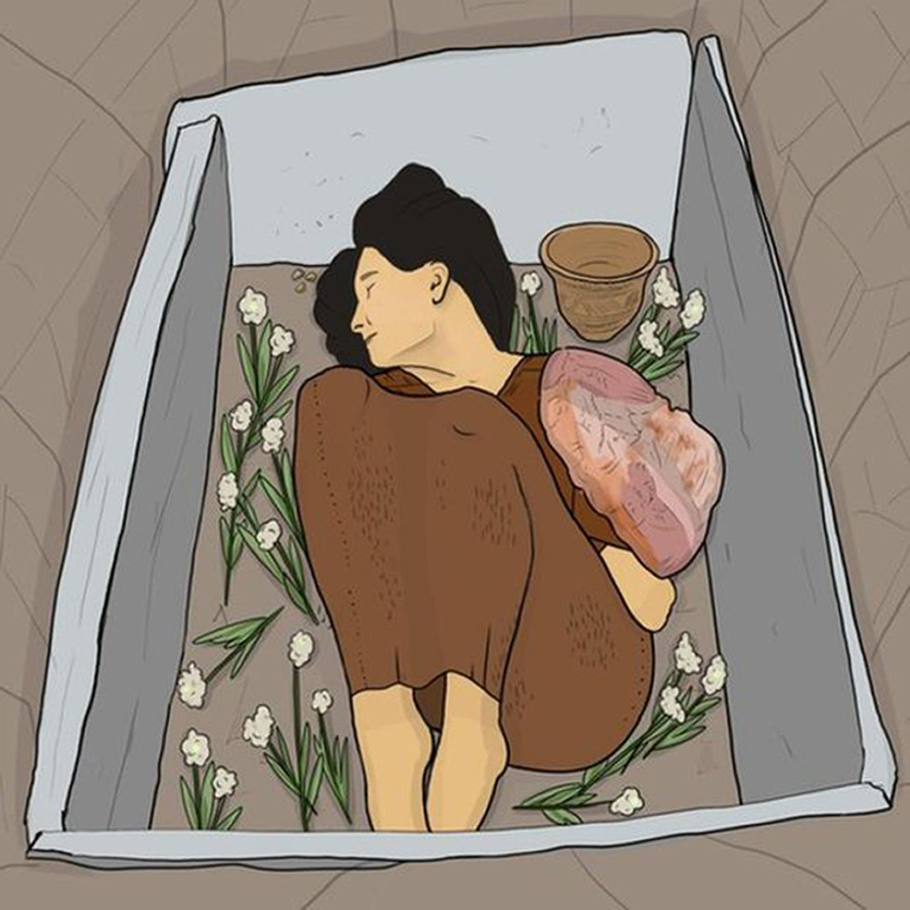 """Ava's burial in grave cut from solid rock - Researchers have gained new insights into the life of a woman who died more than 4,250 years ago. Known as """"Ava"""", her bones were found in a grave cut into solid bedrock at Achavanich in Caithness in 1987. New ancient DNA research has shown that she was descended from European migrants who arrived in Britain a few generations before she was born. The analysis also suggested that she likely had brown eyes and black hair, and that she was lactose intolerant. The research, published in Proceedings of the Society of Antiquaries of Scotland and led by archaeologist Maya Hoole, has shed new light on previous ideas on Ava's appearance. She was found to be from an earlier date than previously thought. The new analysis of her genomic data has resulted in the making of a new facial reconstruction of Ava by a forensic artist, Hew Morrison. The original reconstruction interpreted Ava with red hair and blue eyes. Ms Hoole said the new ancient DNA evidence, gathered by experts at the Natural History Museum in London and Harvard Medical School, had revealed more accurately what Ava would have looked like. She said: """"Archaeologists rarely recover evidence that indicates hair, eye or skin colour but these new revolutionary techniques allow us to see prehistoric people like we never have before. """"The revelation that her ancestors were recent northern European migrants is exciting, especially as we know that she has no, or very few, genetic connections with the local Neolithic population who resided in Caithness before her."""" Picture: Maya Hoole/Universal News And Sport (Scotland) 03/12/2018"""