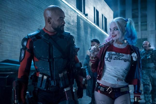 "Film: Suicide Squad (2015) Boomerang-JAI COURTNEY, Cast, Deadshot-WILL SMITH, Harley Quinn-MARGOT ROBBIE, Location, Margot Robbie ""Harley Quinn, Midway City Street, Suicide Squad, Will Smith ""Deadshot, null"